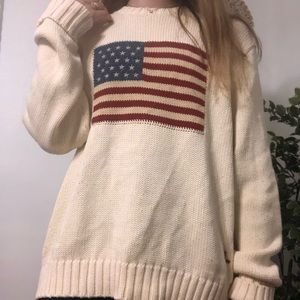 Ralph Lauren chunk knit sweater with flag